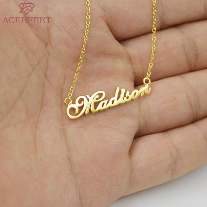 Personalized Name Pendant Necklace Custom Nameplate Choker Custom Jewelry Stainless Steel Chain Collier Femme Bridesmaid Gift