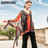 KAMIYING 2019 новый стиль 100% Шелковая шелковая рубашка с длинными рукавами больших размеров женская блузка Солнцезащитная рубашка на весну и лет