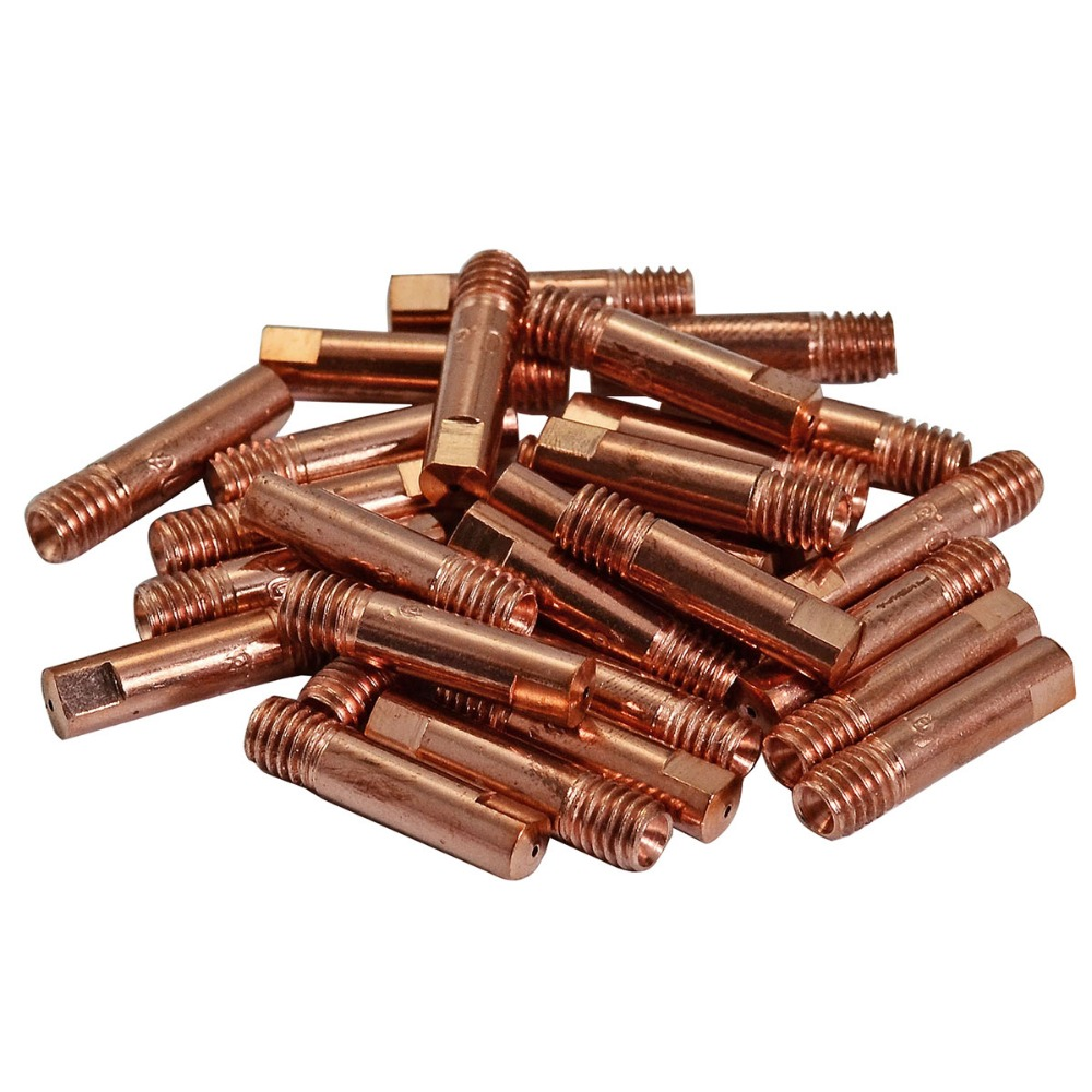 20pcs CO2 MIG Contact Tips 0.8 ( 1.0 ,1.2 Available ) X25mm For MB15 15AK MAG MIG Welding Torch Consumables Accessories