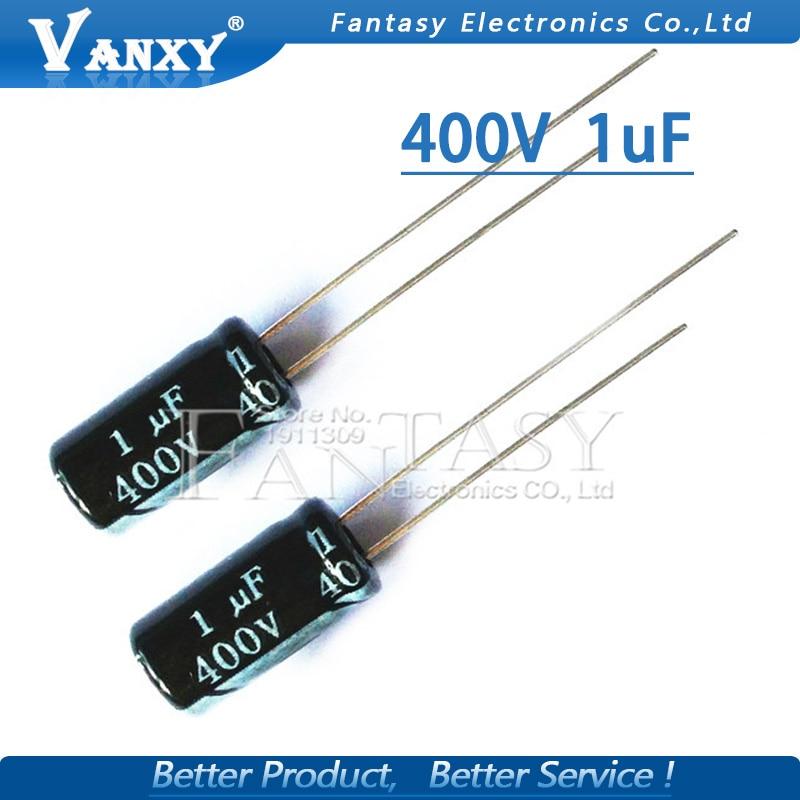 50PCS Higt Quality 400V1UF 6*11mm 1UF 400V 6*11 Electrolytic Capacitor