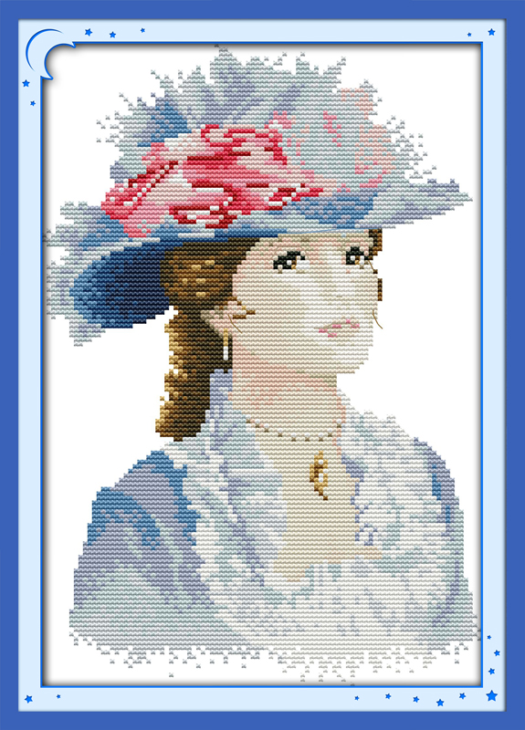 cotton people DMC <font><b>home</b></font> <font><b>decor</b></font> Cross Stitch kits <font><b>Elegant</b></font> lady (2) 14ct white 11ct print embroidery DIY handmade needlework wall