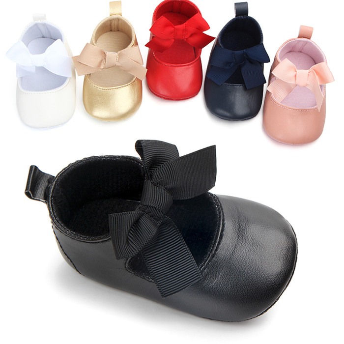 New Bow Toddler Baby Girl Shoes 1 Year Birthday Party Flat Princess Shoes Fashion First Walkers 0-18 Months