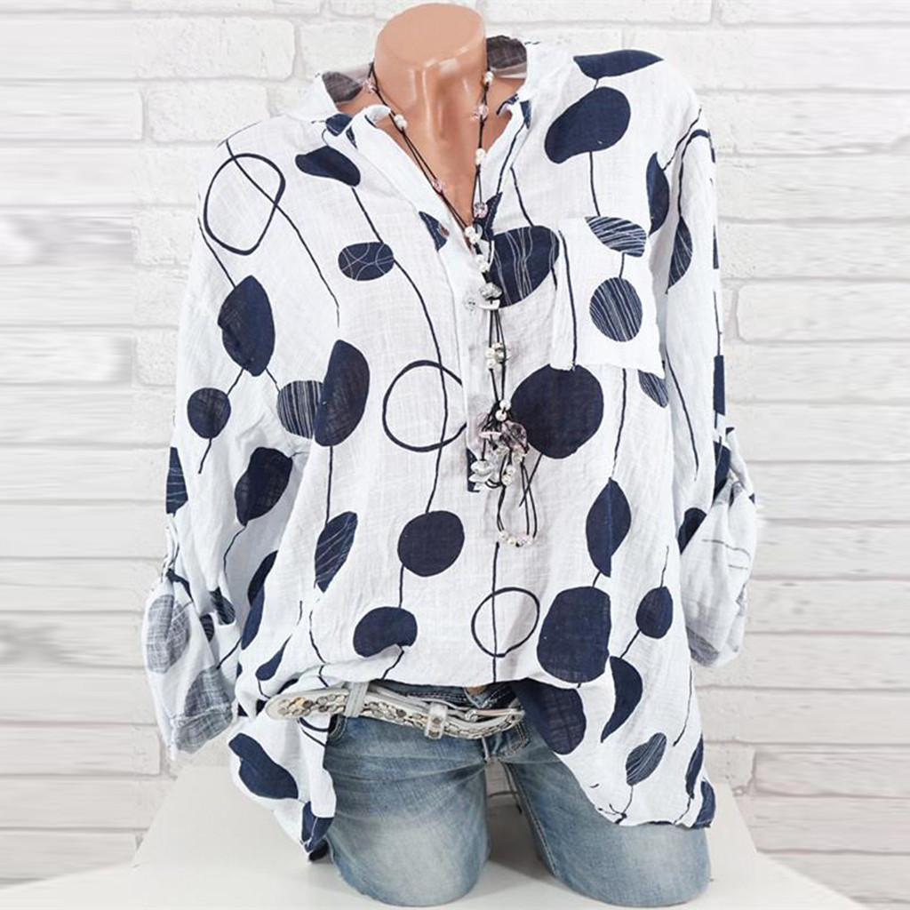 KANCOOLD top   shirt   Plus Size Women Casual Dot Print long Sleeve   Blouse     Shirt   Autumn Winner fashion new top femme 2018dec20