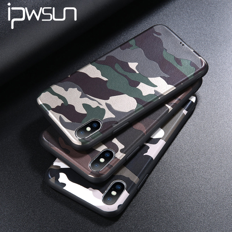 uk availability 3f206 5401d Camouflage Phone Iphone 6 6S 7 8 Plus X Case Army Green Soft TPU Silicon  Phone Shell For Iphone 7 Cover