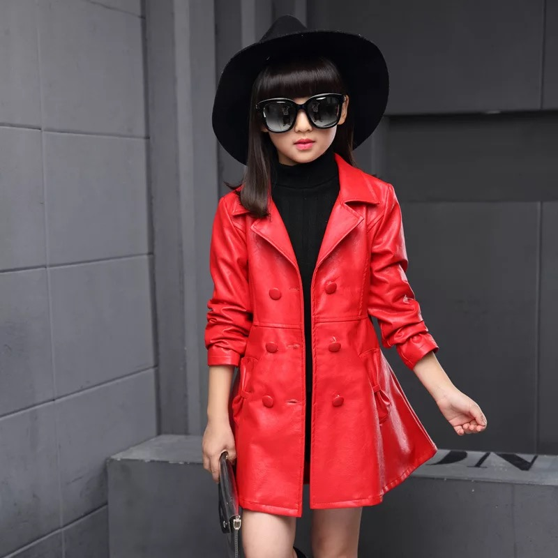 ФОТО 2017 New Spring Children Clothing Double-breasted Rivets Pathchwork Girls Jackets and Coat PU Leather Long Kids Jacketss Outwear