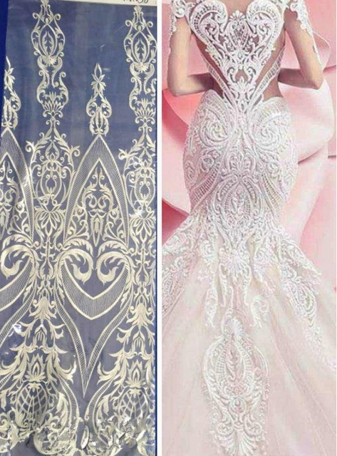 5yards off white high quality milk tulle embroidery fabirc for wedding dress guipure lace fabric