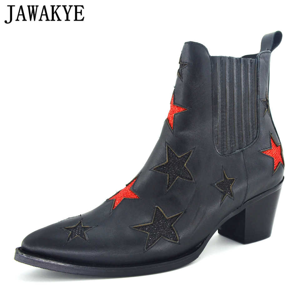 JAWAKYE Ankle Boots Pointed Toe Women Booties red star decor chunky high Heels genuine leather Motorcycle Shoes martin boots ботинки martin star
