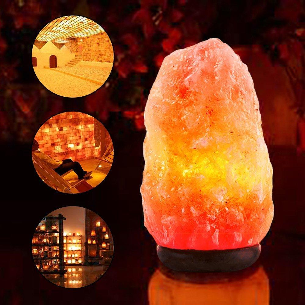 Hot sale fashion Himalayan natural salt crystal lamp with Neem Wood Base Bulb and Dimmer switch for Air Purification Therapy himalayan sea shell salt lamp dimmable for bedroom the air purification improvement of sleep relieve stress muschel salzlampe