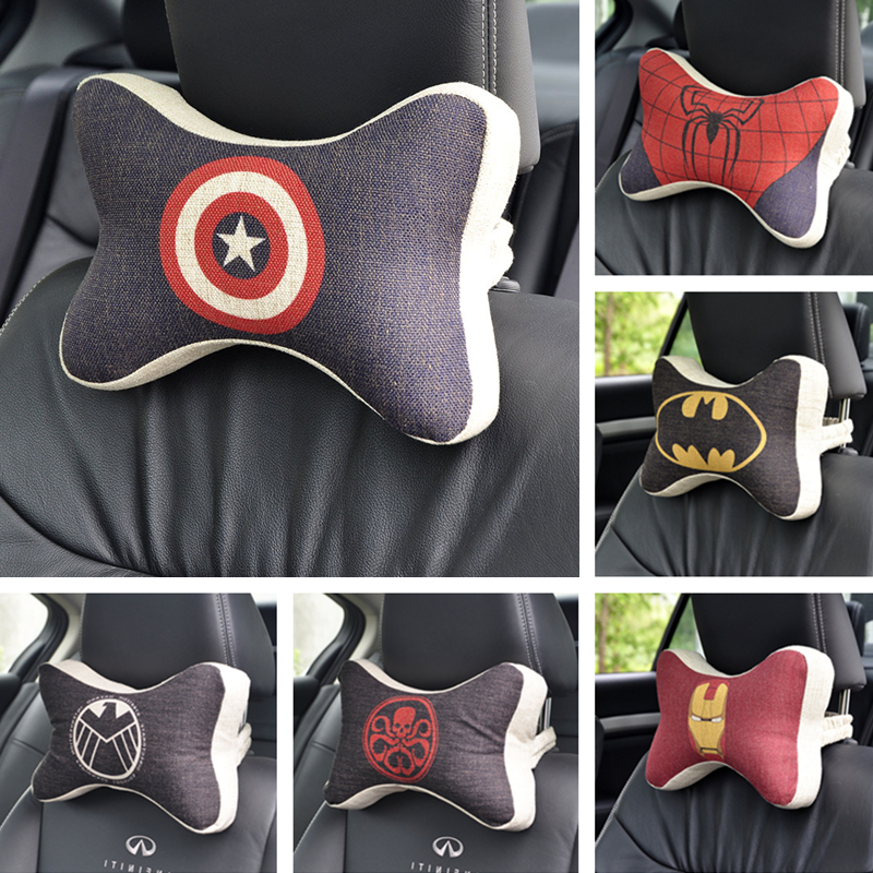 Cartoon Super hero car seat pillow for the neck rest support headrest Travel Soft pillows cars cushion vehicle Space Memory foam cute 1pair 33cm funny stitch lovely plush car soft headrest vehicle bone rest neck pillow stuffed toy