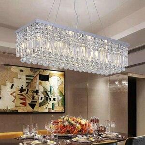 Image 2 - Candelabro de cristal moderno para comedor, candelabro de techo rectangular mangic