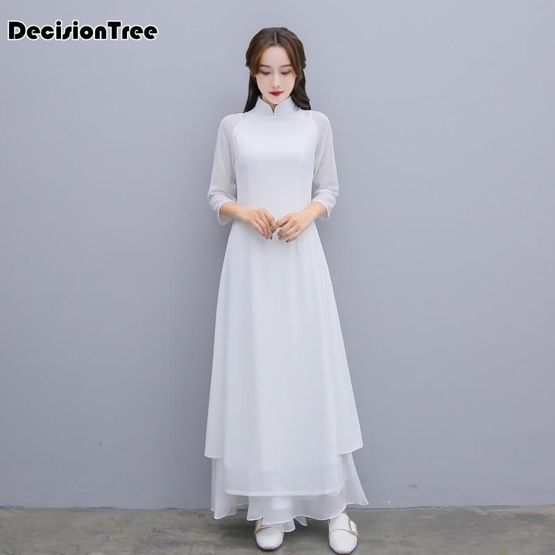 2019 Woman Solid White Aodai Vietnam Traditional Clothing Ao Dai Vietnam Dress Vietnam Costumes Improved Cheongsam Dress