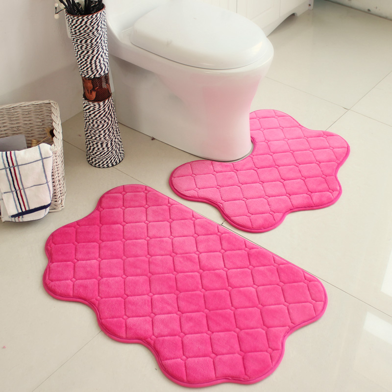 2pcs Set Pink Color New Soft Bath Pedestal Mat Set Toilet