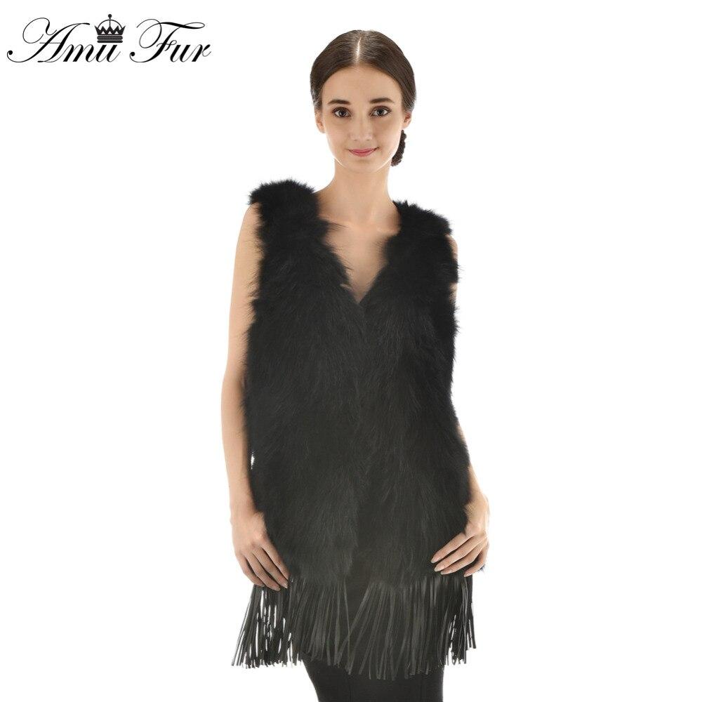 3 Colors New Arrivel Genuine Raccoon Fur Vest With Tassel Fashion Style Raccoon Fur V Neck