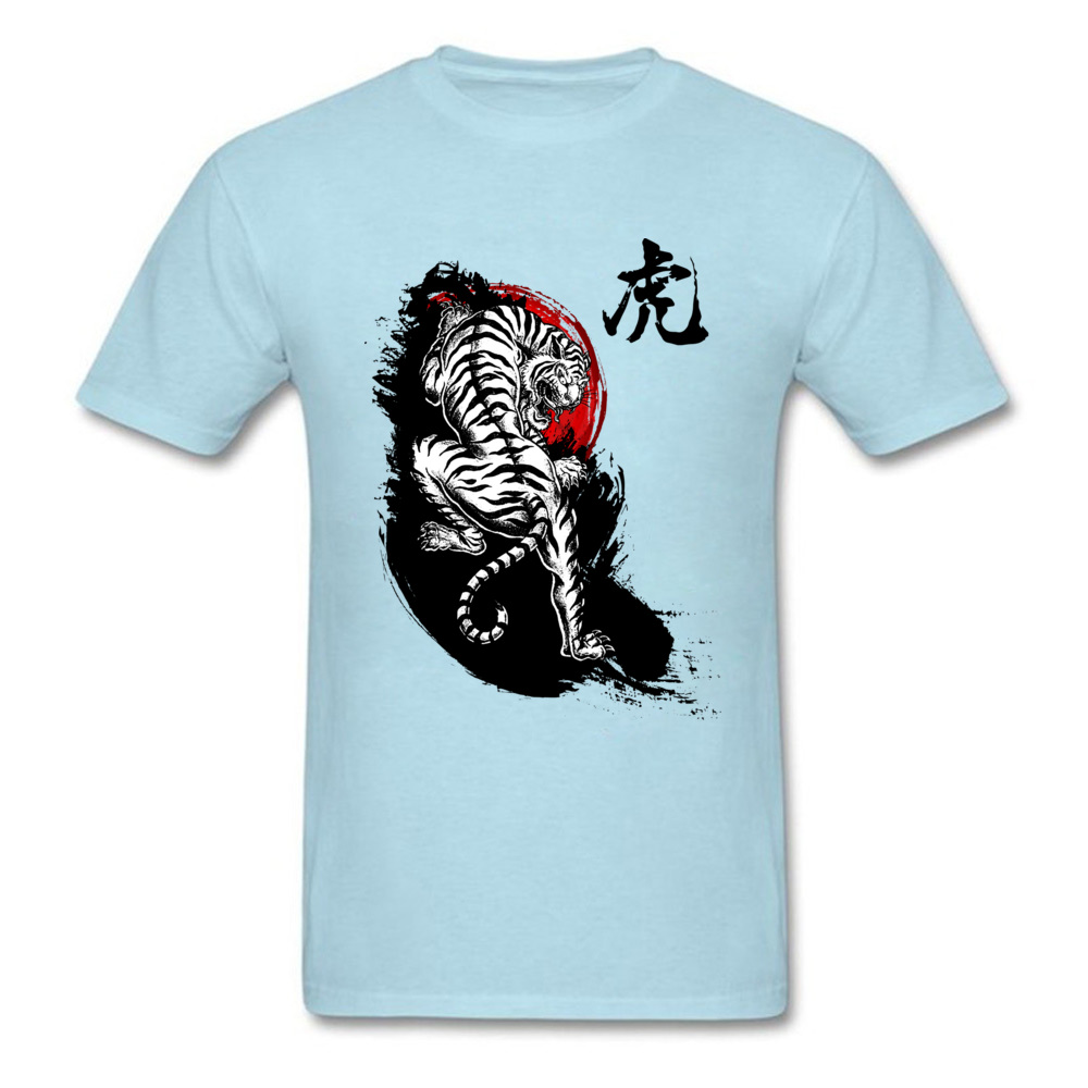Adult T Shirts Japanese Tiger Design T Shirt Pure Cotton Round Collar Short Sleeve 3D Printed T Shirt Summer/Fall Japanese Tiger light