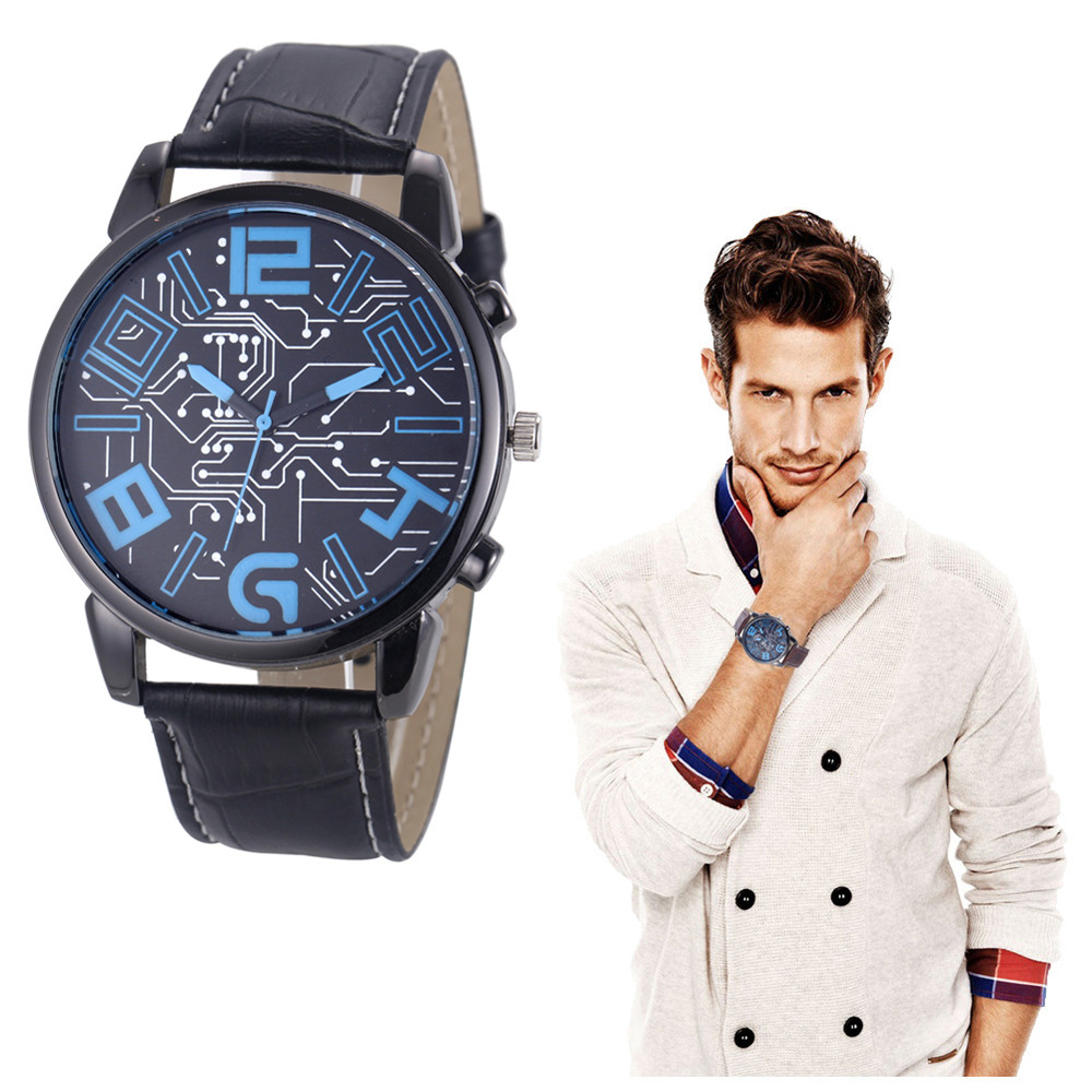 CLAUDIA Men Leather Strap Analog Quartz Sports Wrist Watch Watches mens watches top brand luxury  Relogio Masculino Freeshipping Переносные часы