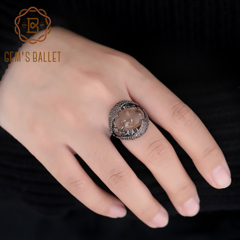 GEM'S BALLET Oval Natural Smoky Quartz Ring Genuine 925 Sterling Sliver Vintage Gothic Punk Rings For Women Party Fine Jewelry