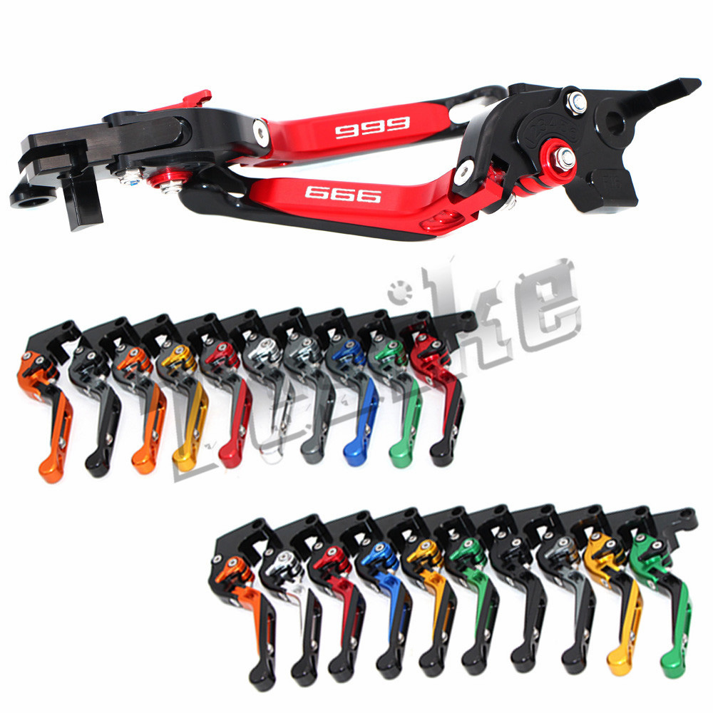 CNC Brake Clutch Levers Motorcycle For Ducati 999 S R 999S 999R 2003 2004 2005 2006 Foldable Extendable Logo (999)