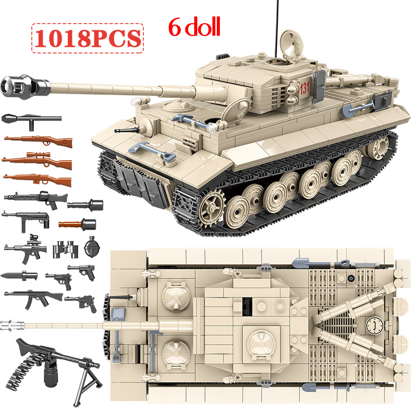 1018pcs Army WW2 German King Tiger 131 Tank Soldier Weapon Building Blocks Bricks Toys for Boys