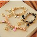 Fashion Cute Eiffel Tower Charms Bracelet Poker and Flower Charms Bracelet for Women