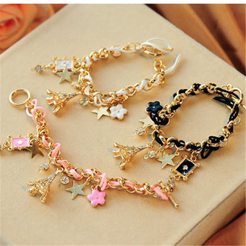 Us 1 42 45 Off Rongqing Fashion Cute Eiffel Tower Charms Bracelet And Flower For Women In Charm Bracelets From Jewelry