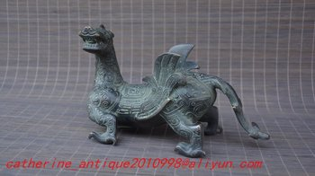 Collection old bronze flying drgaon statue / sculpture,Hand carving crafts, best adornment & collection, free shipping