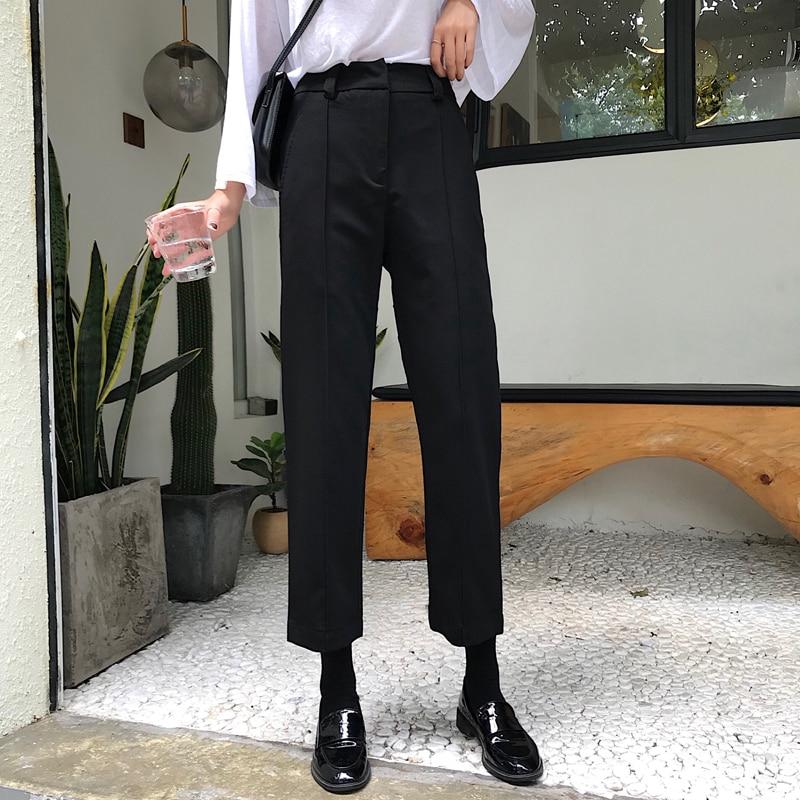 Mihoshop Ulzzang Korean Korea Women Fashion Clothing Winter High Waist Preppy Black Basic Trousers Pants