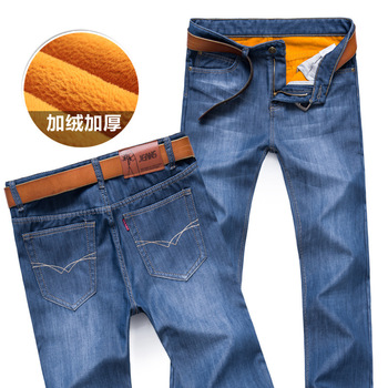 New 2017 Men Activities Warm Jeans High Quality Famous Brand Autumn Winter Jeans warm flocking warm soft men jeans 4 Color