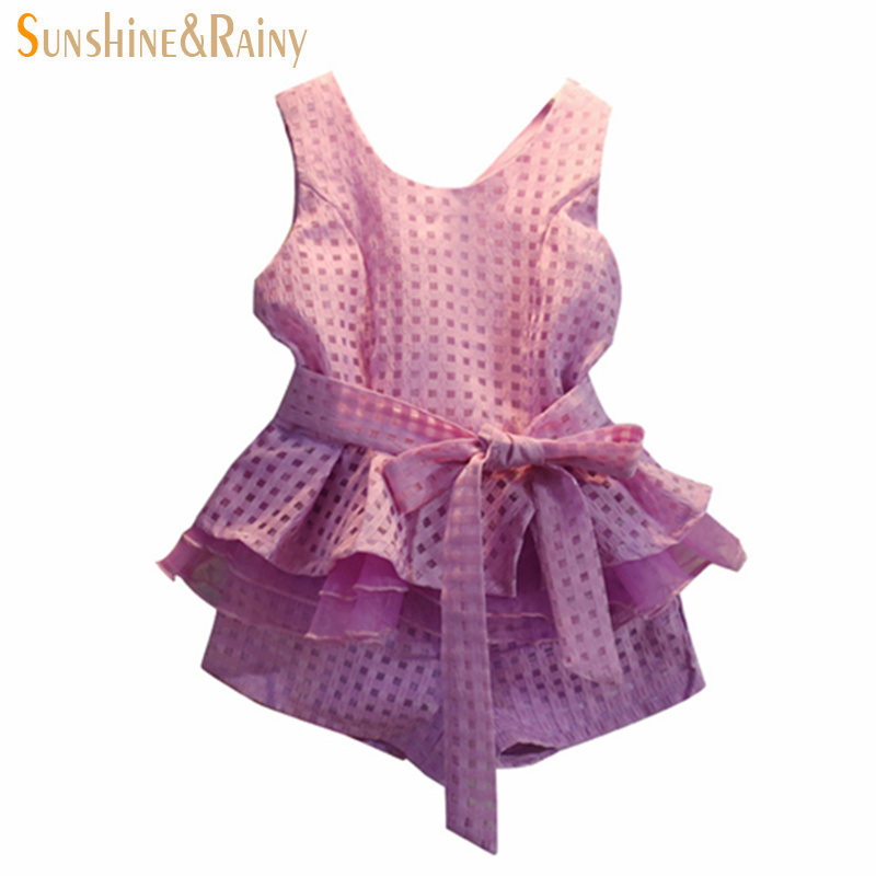 New 2017 Summer V-Neck Collar Lace Chiffon Vest + Shorts 2 Pcs Kids Clothes Roupas Infantil Meninas Girls Clothing Sets платье для девочек 2015 roupas infantil meninas dress003