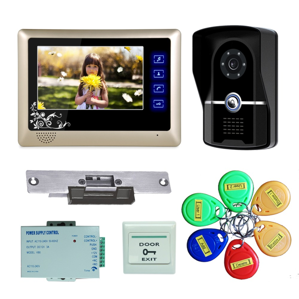 YobangSecurity 7 Inch Wired Video door Phone Doorbell Video Intercom System 1-Camera 1-Monitor With Electronic Lock,RFID Keyfobs brand new wired 7 inch color video door phone intercom doorbell system 1 monitor 1 waterproof outdoor camera in stock free ship