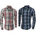 Homens Moda Slim Fit Camisa Xadrez de Manga Longa Camisas Casual Cotton Tee Top Loja 50