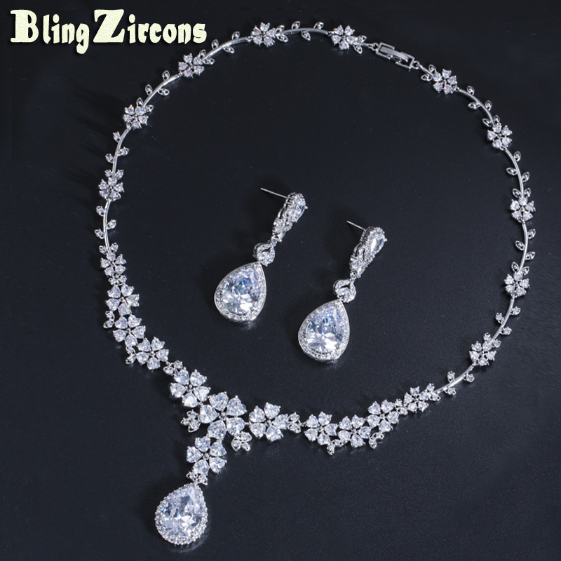 BeaQueen Luxury Cubic Zirconia Crystal Long Water Drop Earrings Necklace Women Flower Costume Jewelry Sets for