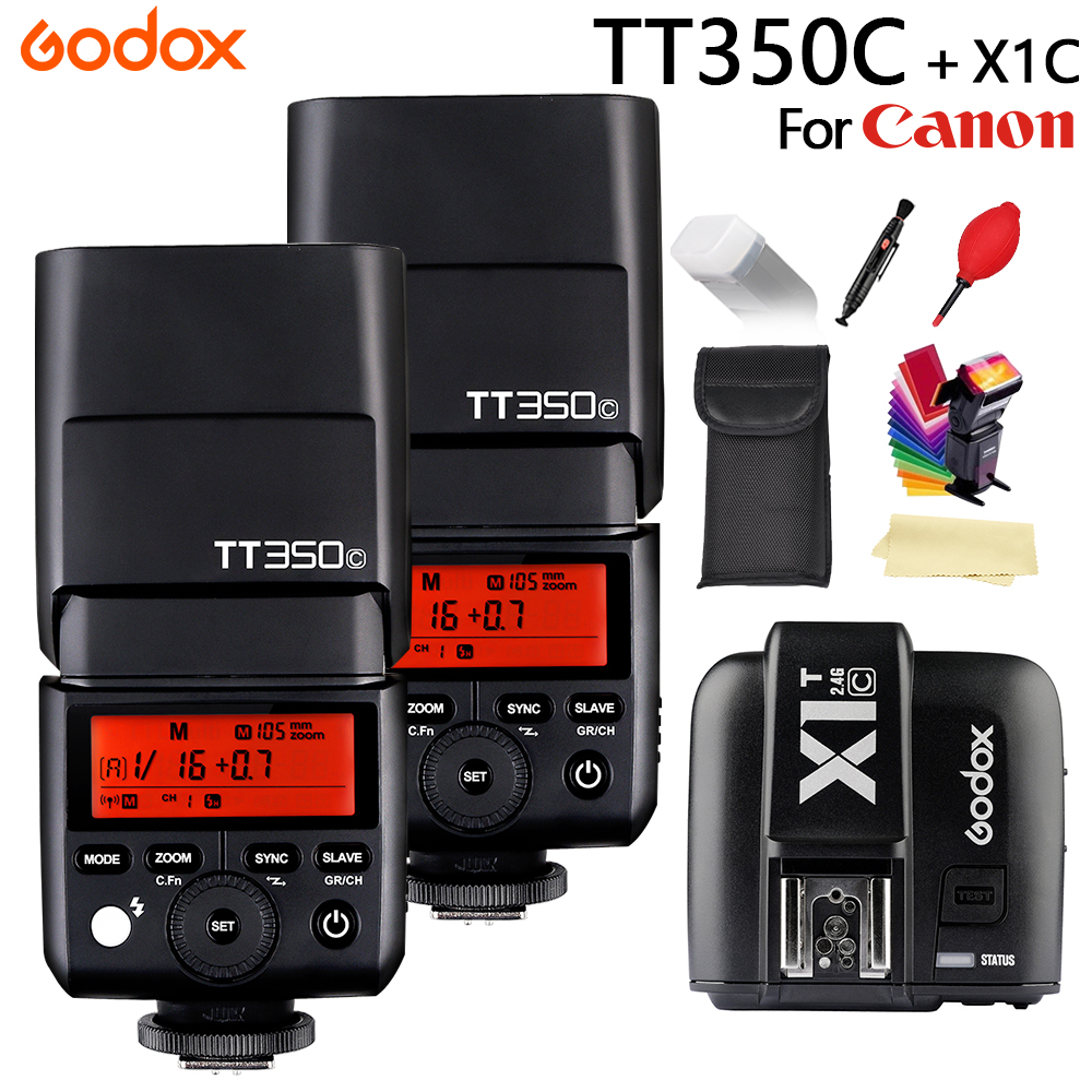 GODOX TT350C Flash Pocket lights GN36 2.4G Wireless HSS 1/8000s TTL Speedlite Flash + X1T-C Transmitter For Canon Cameras godox v860ii c v860iic speedlite gn60 hss 1 8000s ttl flash light x1t c wireless flash trigger transmitter for canon eos