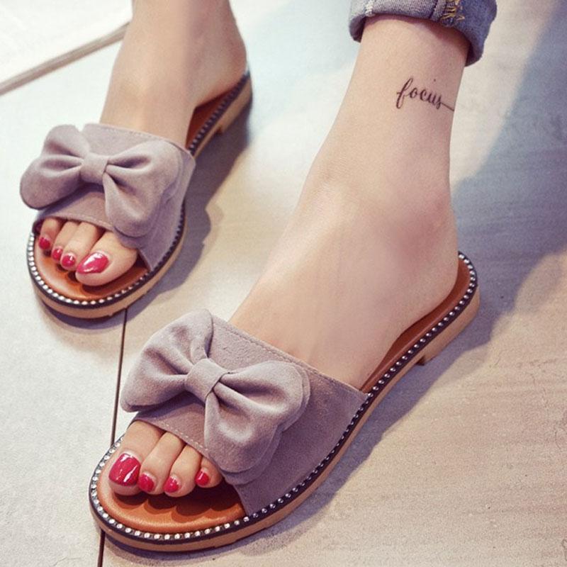 Tassel Sandals Women Slippers Summer 2018 Bowknot Sandal Flats Slides Women Falt With Shoes Chaussure de Marque Slipper Dames mnixuan women slippers sandals summer
