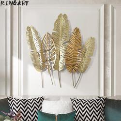 Nowoczesna tablica dekoracyjna 3d żelazna ściana liść strona główna metalowa rama ścienna obraz do salonu rama do domu dekoracje barowe duża ściana draperie|Ozdobne tablice|   -