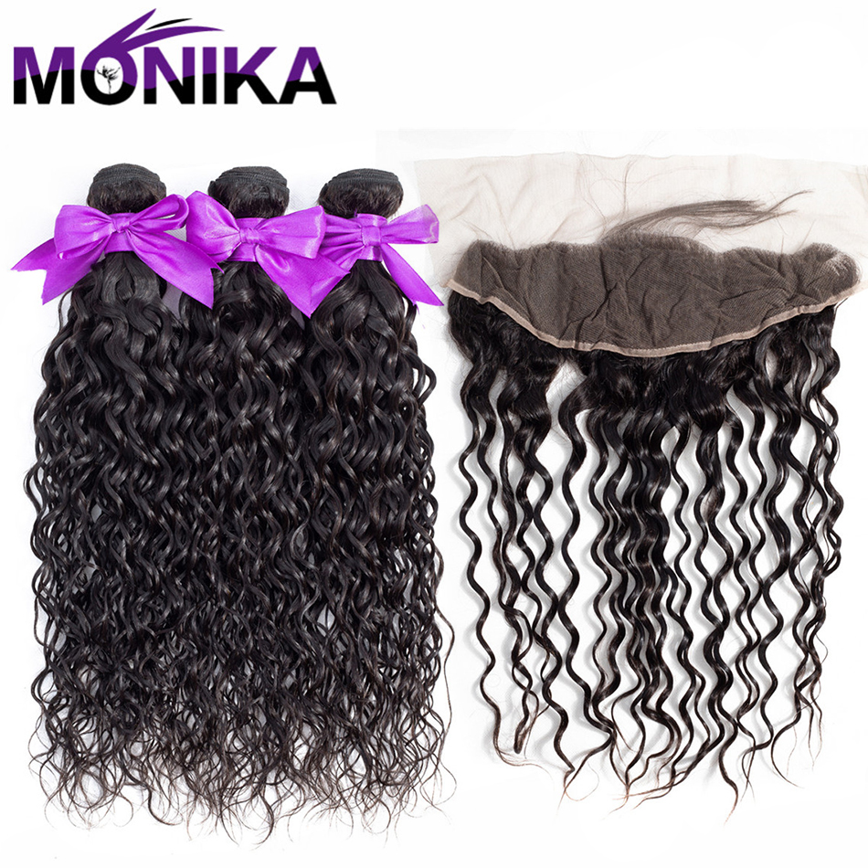 Monika Hair Brazilian Water Hair Wave Bundles With Lace Frontal Non Remy Human Hair 3 Bundles With 13x4 Frontal