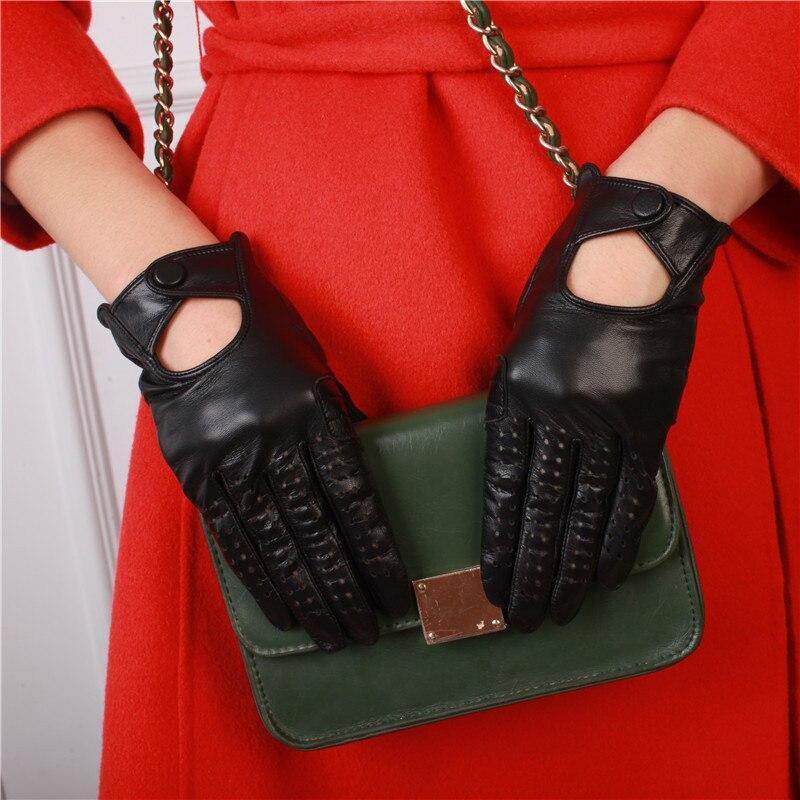Gants en cuir véritable peau de mouton mode été femmes écran tactile gants femme respirant conduite gants mitaines NM1813