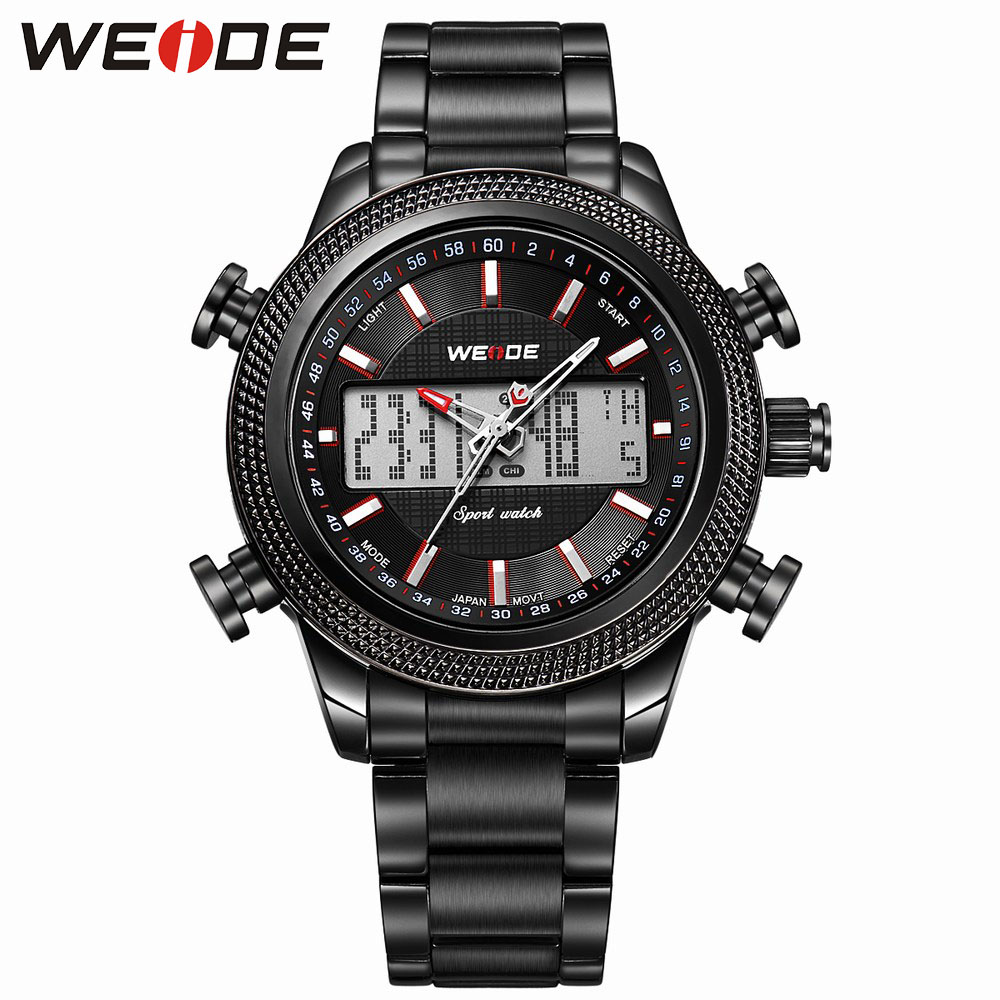 New WEIDE  Arrival Military Water Watches Men Japan Quartz Full Steel Analog Digital Display Waterproof Sports wristwatch WH3406 цена