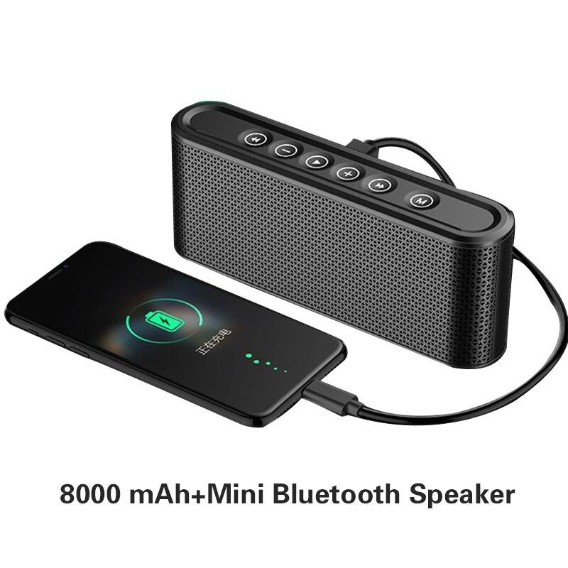 Портативный Usb Мощность Bank 10000 мАч Зарядное устройство Внешний Мощность Батарея Быстрая зарядка + Mini Bluetooth Динамик два в одном Мощность