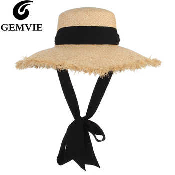 GEMVIE Handmade Weave Raffia Straw Hat For Women Wide Brim Floppy Sun Hat Summer Hats Lady Beach Cap With Chin Strap Fashionable - DISCOUNT ITEM  30% OFF All Category