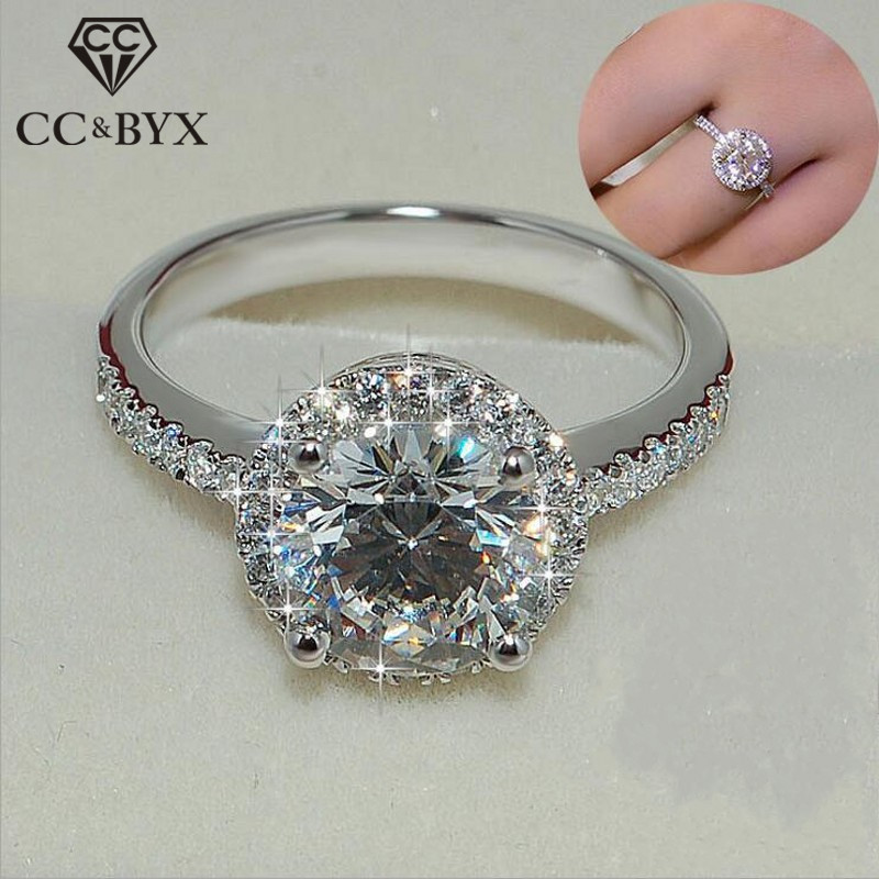 CC Trendy Rings For Women S925 Silver Charms Round Stone Ladies Jewelry Bridal Wedding Engagement Ring Anillos Mujer CC583