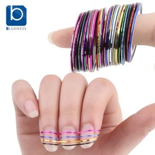 Blueness Beauty 10 Rolls Nail Sticker Line Mixed Color Nails Striping Tape Decal For DIY 3D Nail Art Tips Decorations Foil JH014