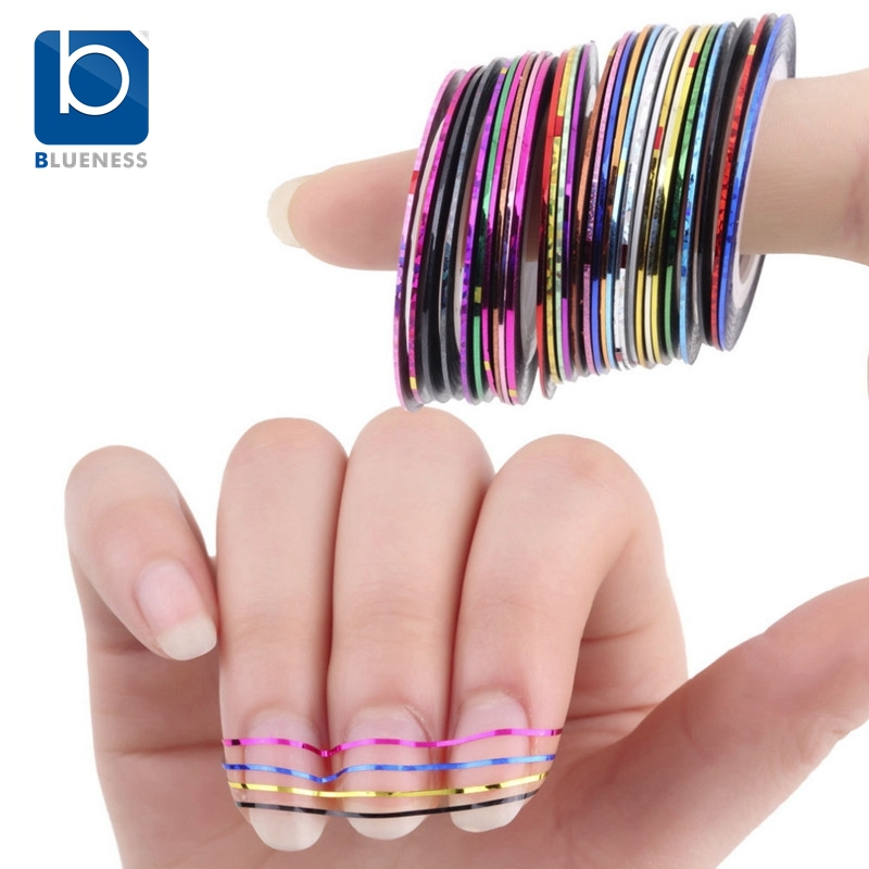 Blueness Beauty 10 Rolls Nail Sticker Line Mixed Color Nails Striping Tape Decal For DIY 3D Nail Art Tips Decorations Foil JH014 30pcs pack 2m mixed colors rolls 3d striping tape line diy nail art decoration sticker uv gel polish tips metallic yarn decal
