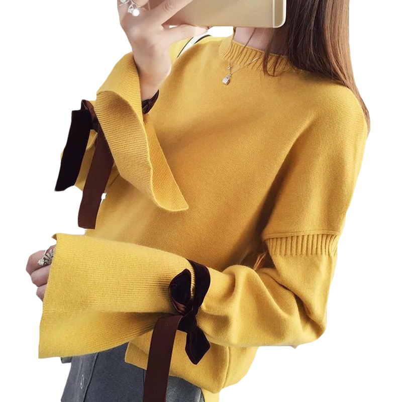 Women's Casual Loose Slit Sweater Sweet Cute Bow Tie Flare Sleeve Short Pullover Student Female Autumn Winter Tops Sueter XH1050