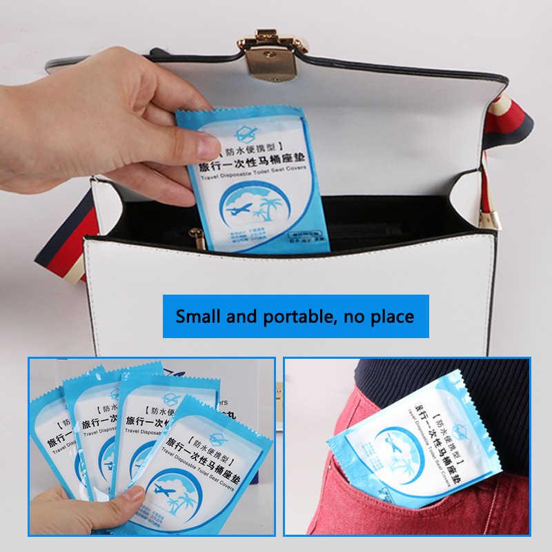 50 sztuk jednorazowa nakładka na toaletę Mat przenośne 100% wodoodporna bezpieczeństwa deska klozetowa Pad dla podróży/Camping łazienka akcesoria