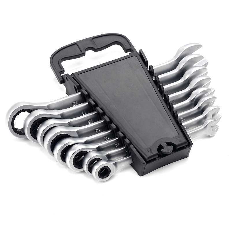 8/10/12/13/14/15/17/19MM With Plastic Hanger Ratchet Wrench Tool Set For Car Repair Hand Tool 8pcs/Set CR-V Key Wrench Kit Set 5pcs 8 10 12 13 14 key ratchet set wrenches professional ring reversible wrench universal head car auto repair hand tool spanner