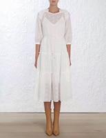 LILYPAUL Блузон Половина рукава излучают Maiden платье в Перл Цельнокройное Стиль излучают миди платье с заниженной талией с оборкой