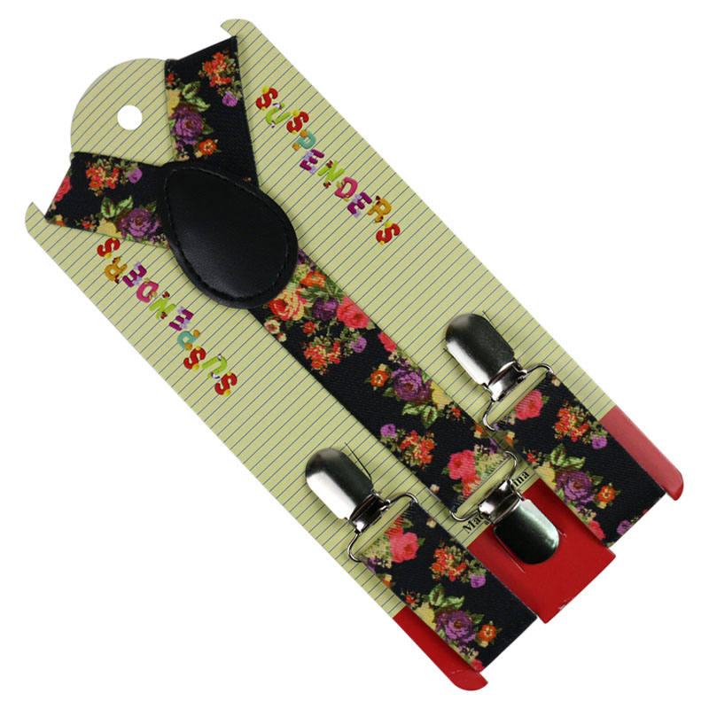 Winfox Fashion Flower Print Suspenders 2.5cm Wide Baby Boys Suspenders Clip-on Y-Back Braces Elastic Kids Suspenders