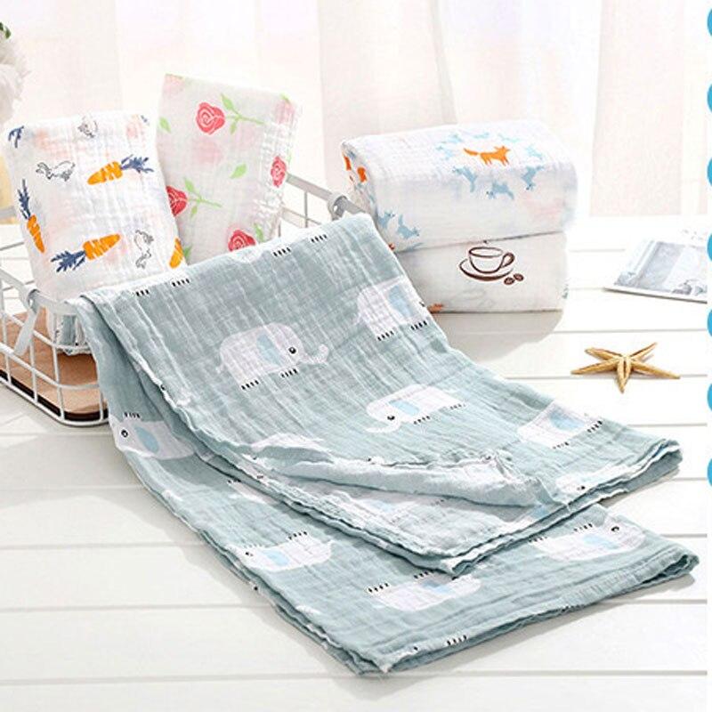 110*120cm 100% Muslim Cotton Cute Cartoon Print Soft Baby Blankets Bedding Infant Swaddle Towel For Newborns Swaddle Blanket