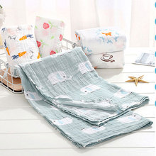 110*120cm 100% Muslim Cotton Cute Cartoon Print Soft Baby Blankets Bedding Infant Swaddle Towel For Newborns Swaddle Blanket цена