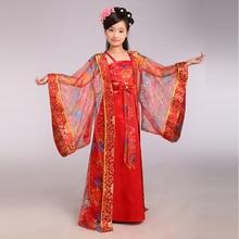Niños Traje Tradicional Chino de La Muchacha Princesa Real Vestido de la Danza Niños Dinastía Tang Ropa de Baile Hanfu Antiguo Traje 89